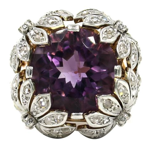 amethyst diamond gold floral design ring  stdibs