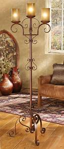 Iron Scroll Floor Lamp With Amber Glass Shades