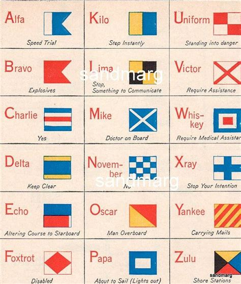 Boat Flags Chart by Vintage 1940s United States Marine Chart International And