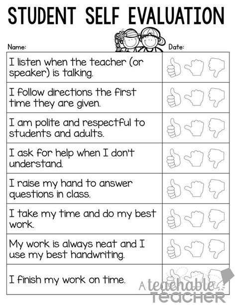 17 Best Ideas About Student Self Assessment On Pinterest