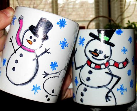 winter craft project how to make snowman mugs to