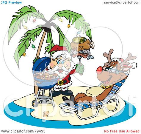 Royaltyfree (rf) Clipart Illustration Of Santa Grilling