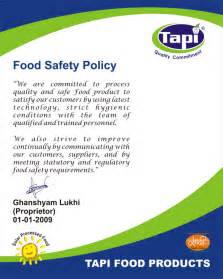Food Safety Policy Statement