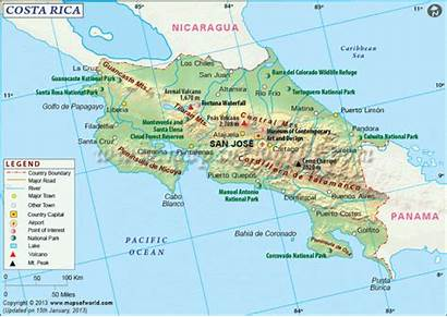 Rica Costa Map Geography Maps Country Travel