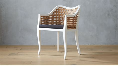 taybas white cane chair  black cushion cb