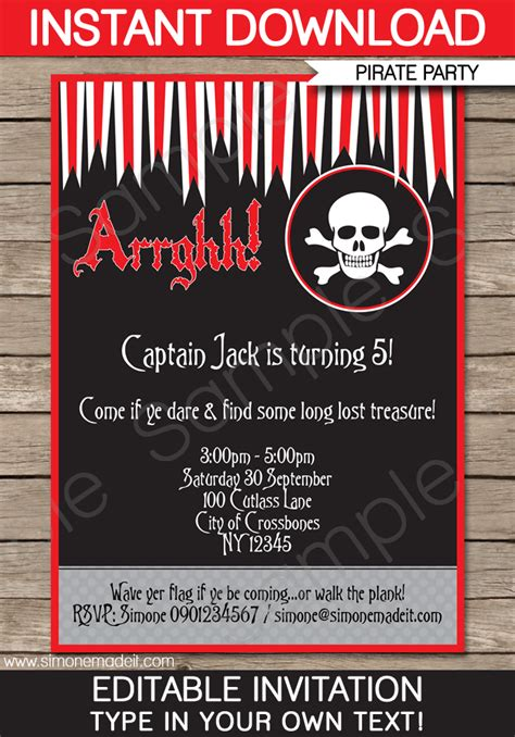 pirate party invitations template birthday party
