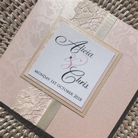 Blush Pink Elegant Wedding Invitation with Lace Emma