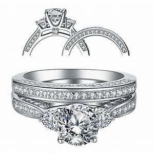 Ring Set Silber : women 39 s three stone cz sterling silver wedding engagement ring sets size 5 10 ebay ~ Eleganceandgraceweddings.com Haus und Dekorationen