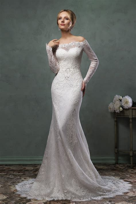 mermaid long sleeve boat neck wedding lace dresses