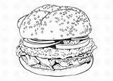 Hamburger Burger Fries Drawing Clipart Vector Coloring Cartoon Outline Pages Burgers Illustration Hamburgers Cliparts Colorir Clip Depositphotos Library Desenho Steak sketch template