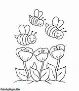 Coloring Bees Flowers Bee Coming Coloringpages Towards Printable Drawing Drawings sketch template