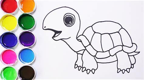 como dibujar  colorear tortuga de arco iris dibujos  ninos learn colors funkeep youtube