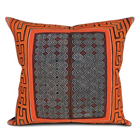 Miao Collar Cushion In Orange Red Cushions