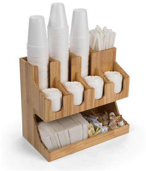 Shop for coffee condiment organizers, tea organizers and more at restaurantware. Wood Coffee Condiment Station Organizer | Accessory Dispenser
