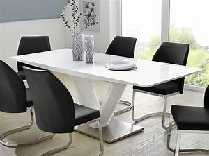 Designer Esstisch Weiß : s ulentisch vasco 160 220 x90x77 cm hochglanz wei esstisch ausziehbar wohnbereiche esszimmer ~ Indierocktalk.com Haus und Dekorationen