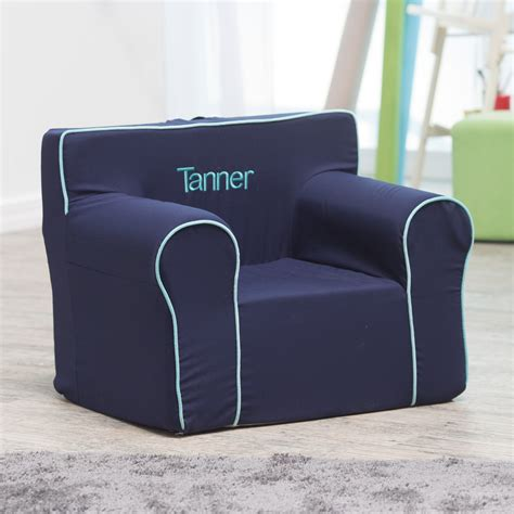 Here And There Personalized Kids Chair  Navy Canvas