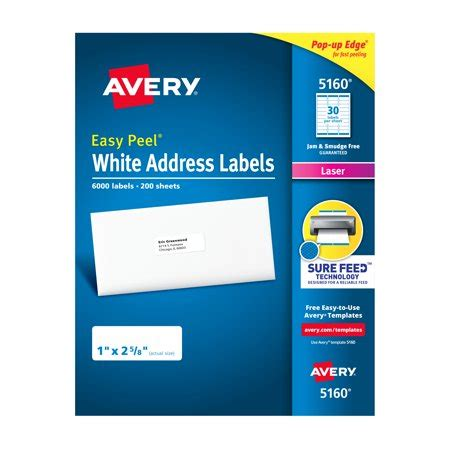 avery easy peel address labels sure feed technology permanent adhesive 1 quot 2 5 8 quot 6 000
