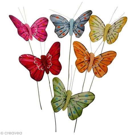 papillon en plume sur fil de fer x 6 formes en r 233 sine