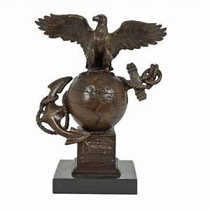 Bronze Eagle Globe and Anchor Statue