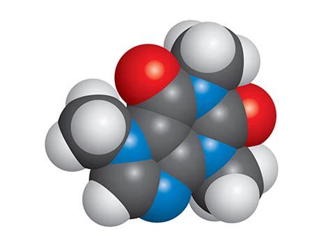 Caffeine molecule vector space fill model C8H10N4O2 v2   igoscience.com