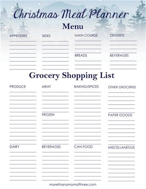 Christmas Dinner Shopping List Template by 1000 Ideas About Christmas List Printable On Pinterest
