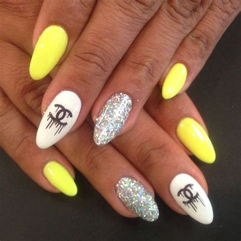 neon yellow chanel nails nails pinterest