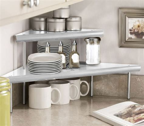 marimac  tier kitchen counter corner shelf  satin silver   rack  home