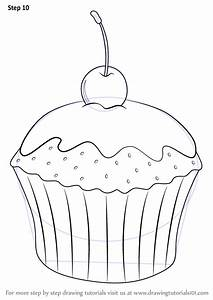 Learn How to Draw Cupcake with Cherry (Cakes) Step by Step ...