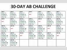 30 Day Ab Challenge Calendar Same 4 exercises each day