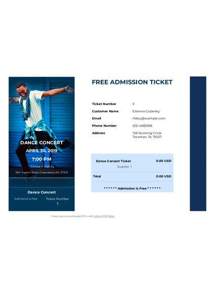 Free Admission Ticket TemplateTemplates JotForm