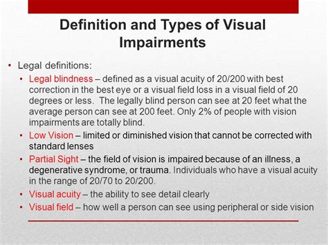 definition of legally blind teaching students with lower incidence disabilities ppt