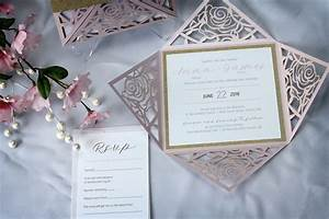 rose flower laser cut wedding invitations with gold With gold glitter wedding invitations canada