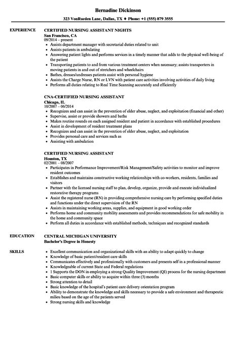 Certified Nursing Assistant Resume by Certified Nursing Assistant Resume Sles Velvet