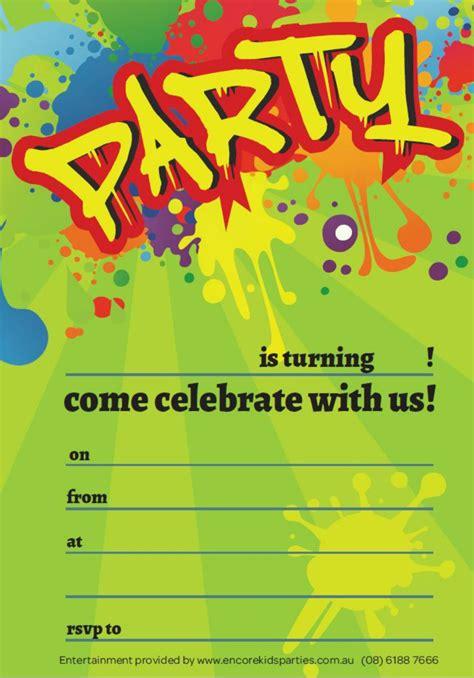 FREE Boy Party Invitations Encore Kids Parties