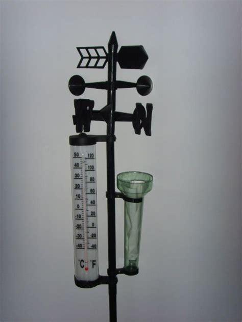 plastic garden weather vane rain gauge with decorative