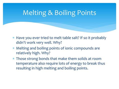 Ionic Salt Ls Do They Work by Ppt Ionic Bonds And Properties Of Ionic Compounds
