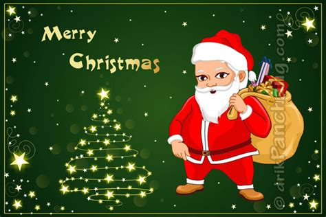 merry christmas greeting santa claus with gifts
