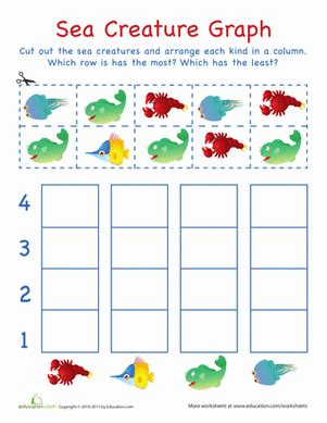 cut out graph sea creatures worksheet education 149 | cut out graph sea creatures