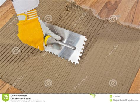 tile adhesive notched trowel stock photo image 27136792