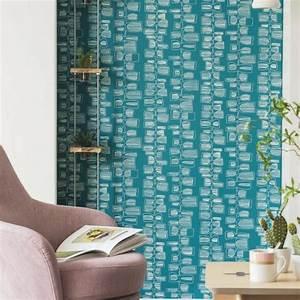 Papier Peint Bleu Canard : papier peint intiss effet ann es 70 ton bleu canard ~ Farleysfitness.com Idées de Décoration
