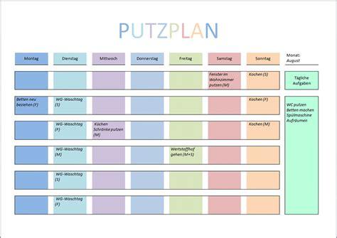 Wochenplan Haushalt Vorlage by Putzplan Vorlage Pdf Und Word Home Improvement Ideas