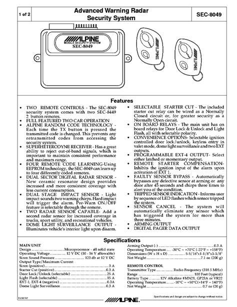 Alpine Sec Mobile Security System Wiring Diagram