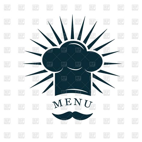 chef hat  mustache restaurant menu logo vector image