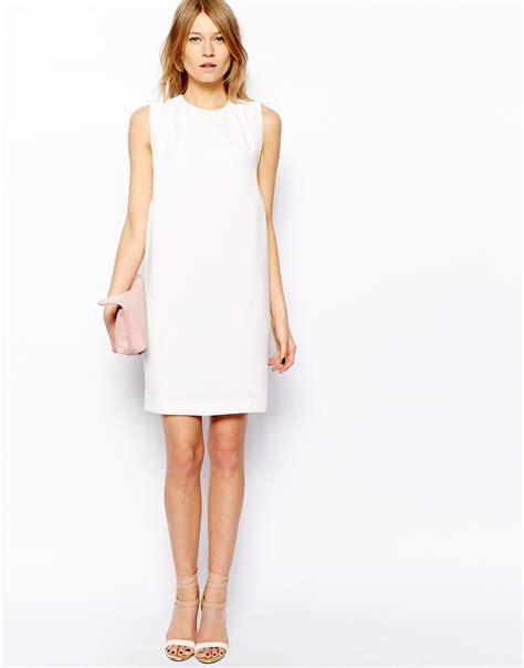 mango pleat detail dress  white lyst