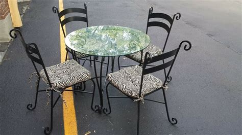 Kitchen Table Sets Wrought Iron by Pier 1 Wrought Iron Dining Kitchen Table Glass Top And 4