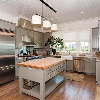 Shiplap Ceiling Kitchen by Butcher Block Island With Tolix Stools Cottage Kitchen