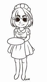 Waitress Shihiro Lineart Chan Deviantart sketch template