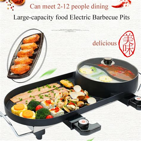 grill pot bbq barbecue shabu electric pan stove dual indoor machine carne elettrico divided stainless steel induction 27cm cookware fumo