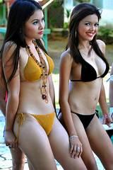 Lovely japanese girl in black bikini