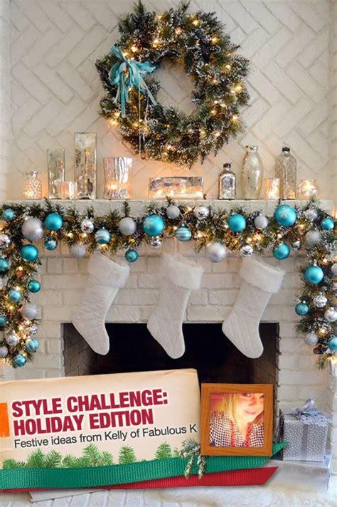 gorgeous christmas mantel  turquoise white  silver